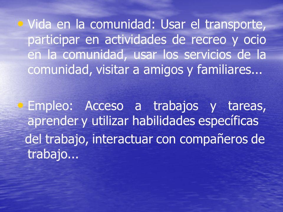 Vida en la comunidad: Usar el transporte, participar en actividades de recreo y ocio en la comunidad, usar los servicios de la comunidad, visitar a am