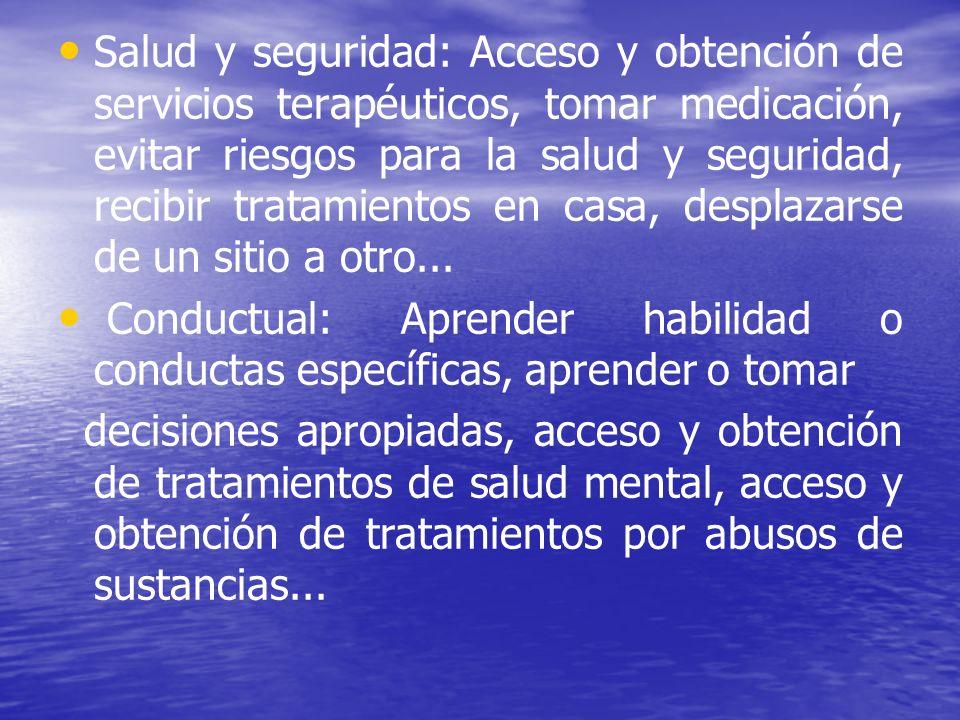Salud y seguridad: Acceso y obtención de servicios terapéuticos, tomar medicación, evitar riesgos para la salud y seguridad, recibir tratamientos en c