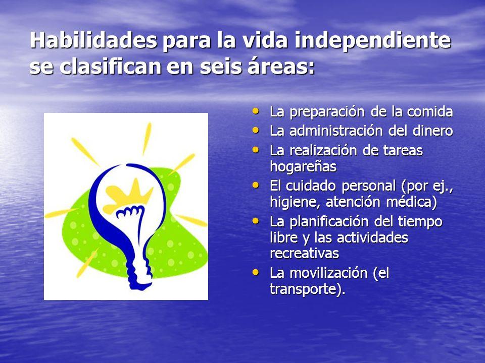Habilidades para la vida independiente se clasifican en seis áreas: La preparación de la comida La preparación de la comida La administración del dine