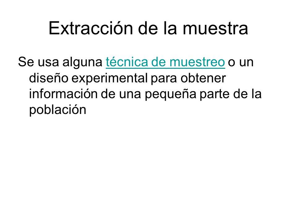 Extracción de la muestra Se usa alguna técnica de muestreo o un diseño experimental para obtener información de una pequeña parte de la poblacióntécni