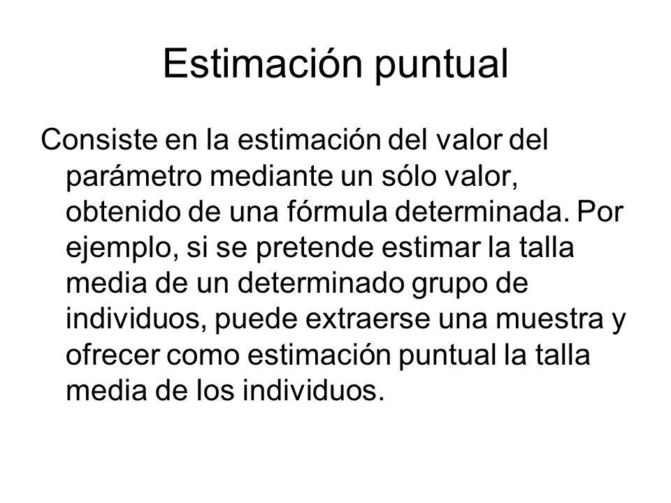 Estimación puntual Consiste en la estimación del valor del parámetro mediante un sólo valor, obtenido de una fórmula determinada. Por ejemplo, si se p