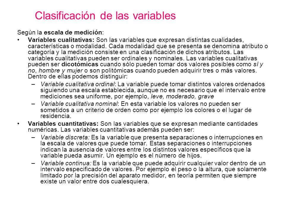 Según la escala de medición: Variables cualitativas: Son las variables que expresan distintas cualidades, características o modalidad. Cada modalidad