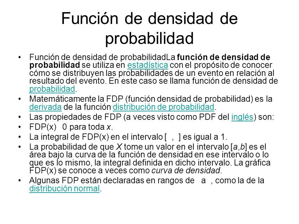 Función de densidad de probabilidad Función de densidad de probabilidadLa función de densidad de probabilidad se utiliza en estadística con el propósi