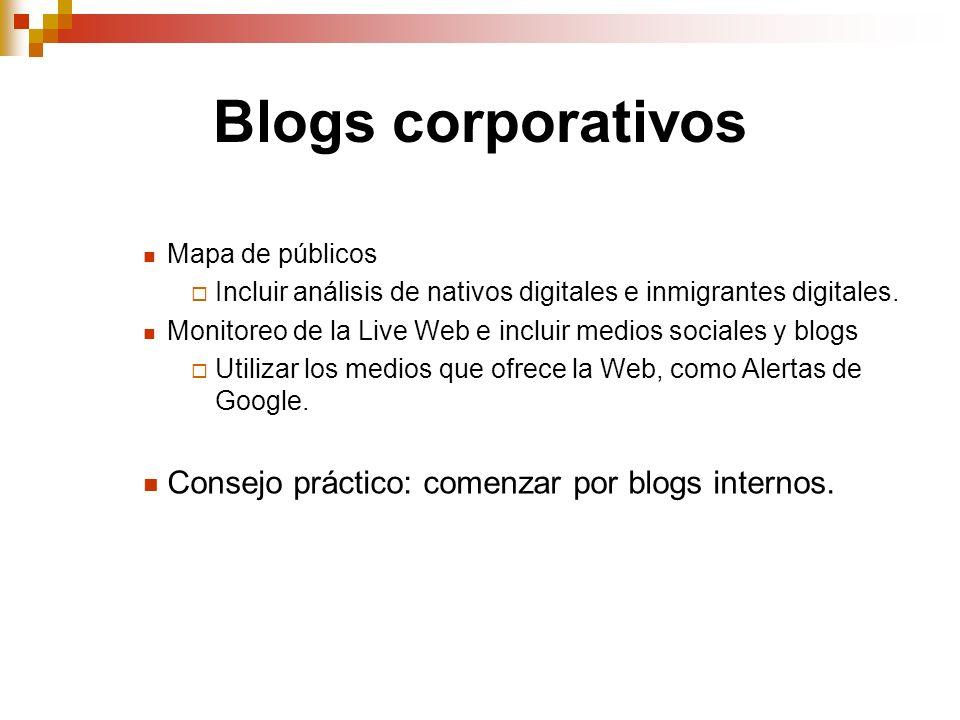 Blogs corporativos Mapa de públicos Incluir análisis de nativos digitales e inmigrantes digitales. Monitoreo de la Live Web e incluir medios sociales