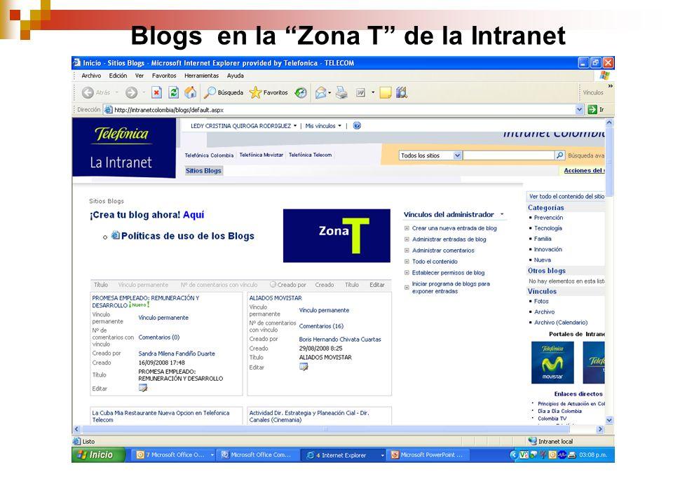 Blogs en la Zona T de la Intranet