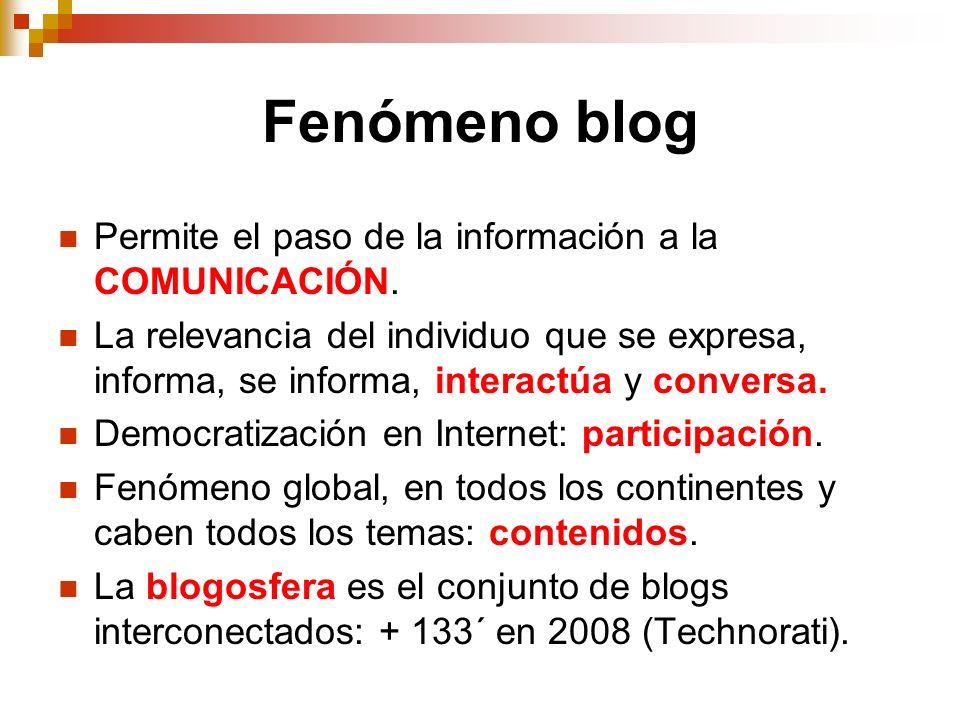 Fenómeno blog Permite el paso de la información a la COMUNICACIÓN. La relevancia del individuo que se expresa, informa, se informa, interactúa y conve