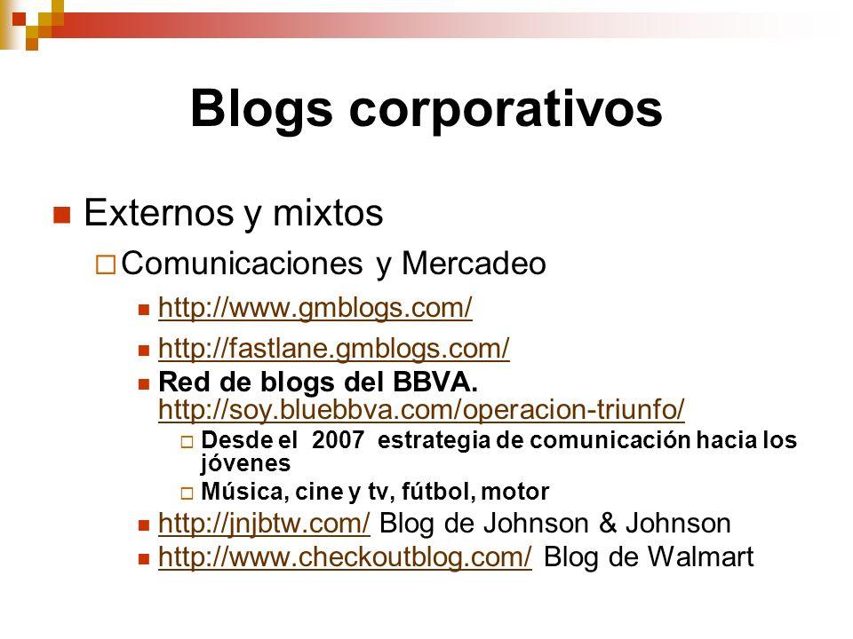Blogs corporativos Externos y mixtos Comunicaciones y Mercadeo http://www.gmblogs.com/ http://fastlane.gmblogs.com/ Red de blogs del BBVA. http://soy.