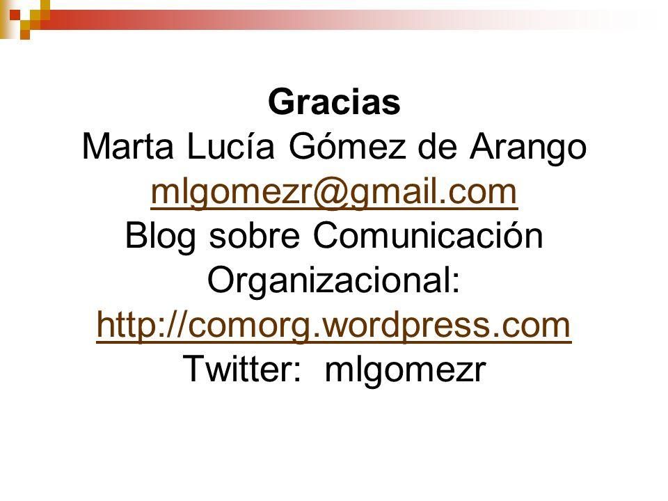 Gracias Marta Lucía Gómez de Arango mlgomezr@gmail.com Blog sobre Comunicación Organizacional: http://comorg.wordpress.com Twitter: mlgomezr mlgomezr@