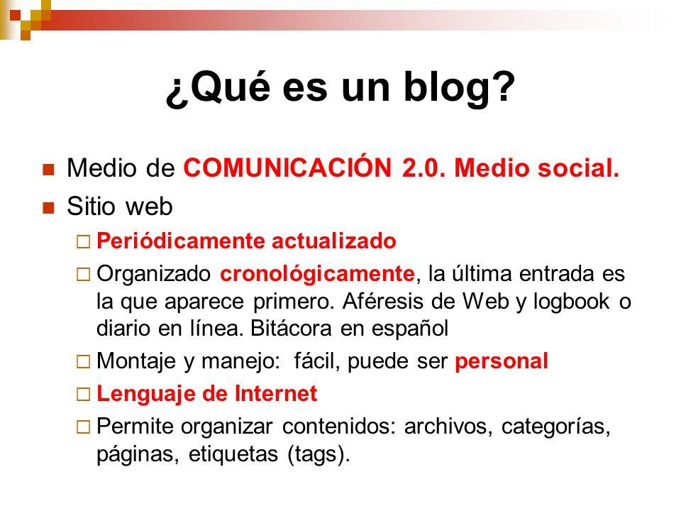 ¿Qué es un blog? Medio de COMUNICACIÓN 2.0. Medio social. Sitio web Periódicamente actualizado Organizado cronológicamente, la última entrada es la qu