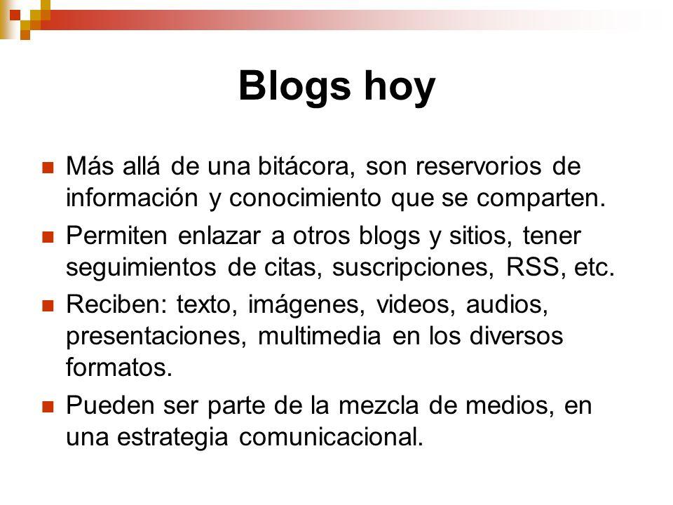 Blogs hoy Más allá de una bitácora, son reservorios de información y conocimiento que se comparten. Permiten enlazar a otros blogs y sitios, tener seg