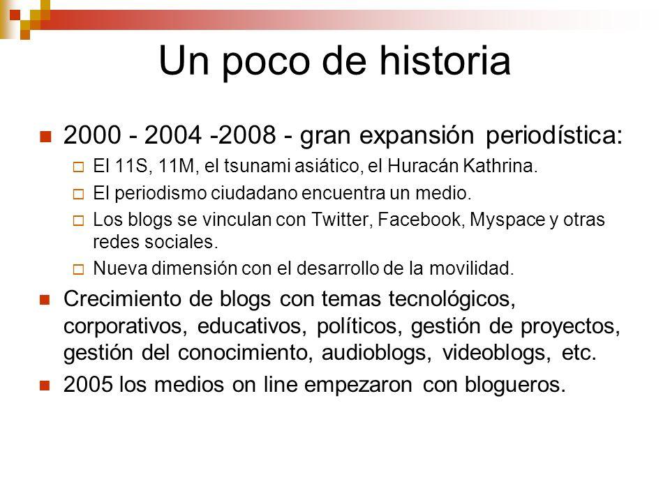 Un poco de historia 2000 - 2004 -2008 - gran expansión periodística: El 11S, 11M, el tsunami asiático, el Huracán Kathrina. El periodismo ciudadano en