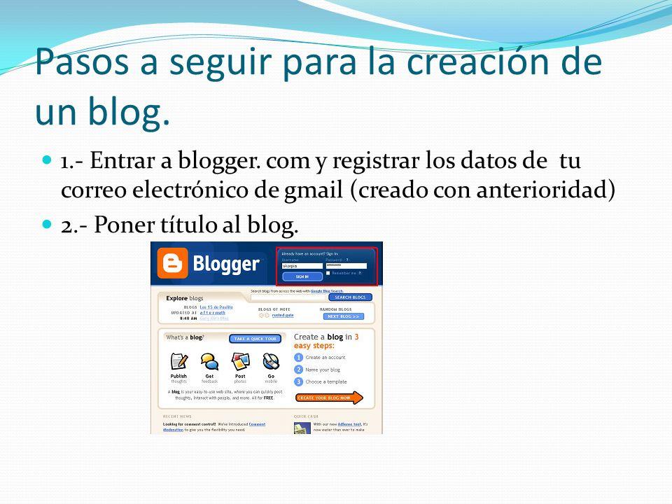Pasos a seguir para la creación de un blog. 1.- Entrar a blogger.