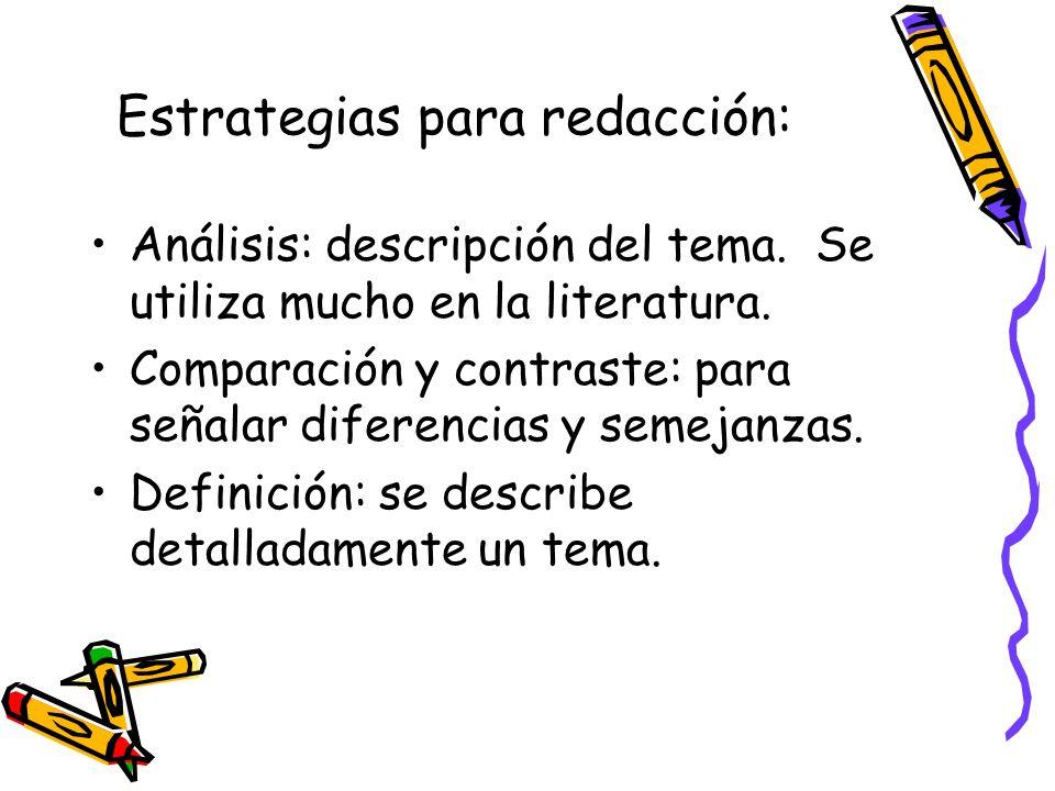 Estrategias para redacción: Análisis: descripción del tema. Se utiliza mucho en la literatura. Comparación y contraste: para señalar diferencias y sem