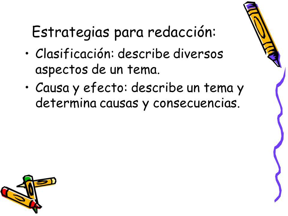 Clasificación: describe diversos aspectos de un tema. Causa y efecto: describe un tema y determina causas y consecuencias. Estrategias para redacción: