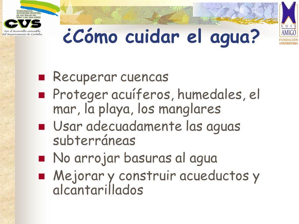 ¿Cómo cuidar el agua? Recuperar cuencas Proteger acuíferos, humedales, el mar, la playa, los manglares Usar adecuadamente las aguas subterráneas No ar