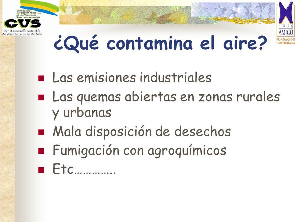 ¿Qué contamina el aire? Las emisiones industriales Las quemas abiertas en zonas rurales y urbanas Mala disposición de desechos Fumigación con agroquím