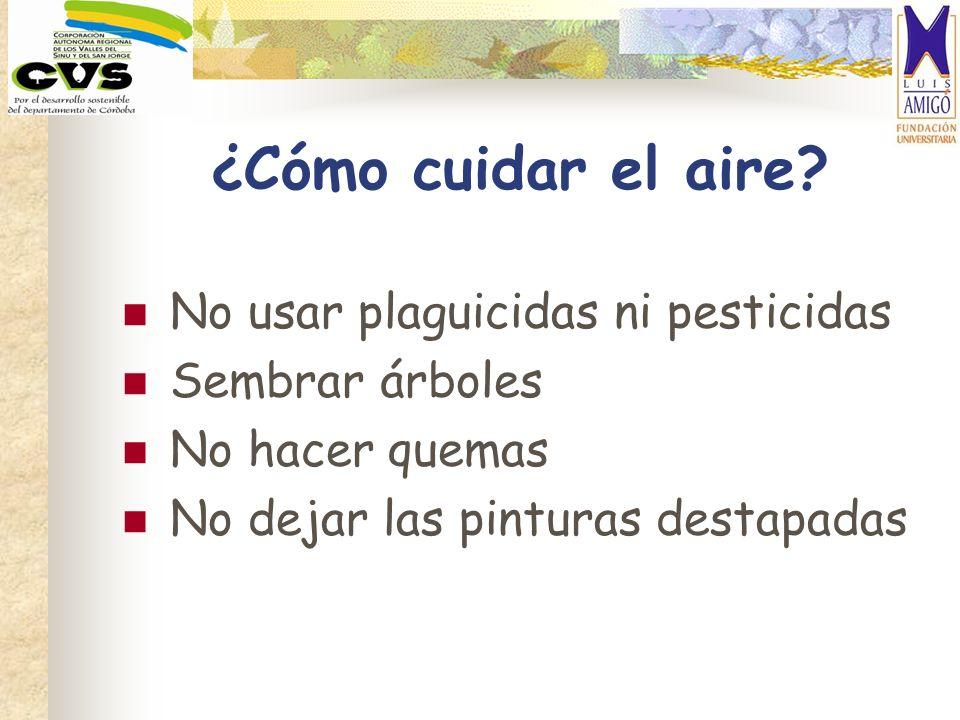 ¿Cómo cuidar el aire? No usar plaguicidas ni pesticidas Sembrar árboles No hacer quemas No dejar las pinturas destapadas