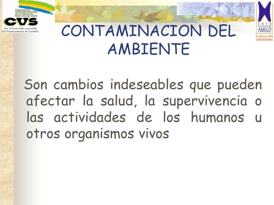 CONTAMINACION DEL AMBIENTE Son cambios indeseables que pueden afectar la salud, la supervivencia o las actividades de los humanos u otros organismos v