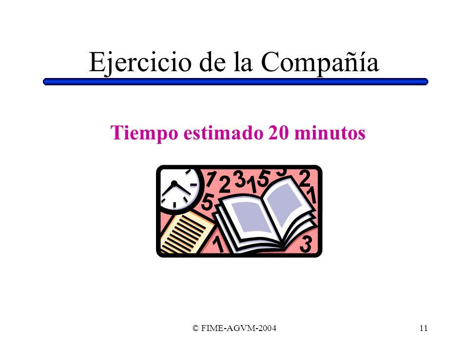 © FIME-AGVM-200411 Ejercicio de la Compañía Tiempo estimado 20 minutos