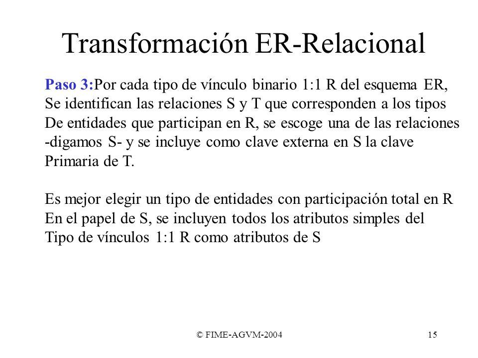 © FIME-AGVM-200415 Transformación ER-Relacional Paso 3:Por cada tipo de vínculo binario 1:1 R del esquema ER, Se identifican las relaciones S y T que