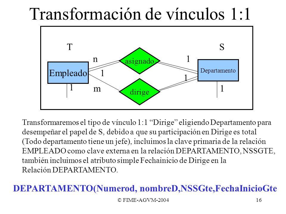 © FIME-AGVM-200416 Transformación de vínculos 1:1 Empleado asignado Departamento 1n dirige 1 1 1m 1 Transformaremos el tipo de vínculo 1:1 Dirige elig