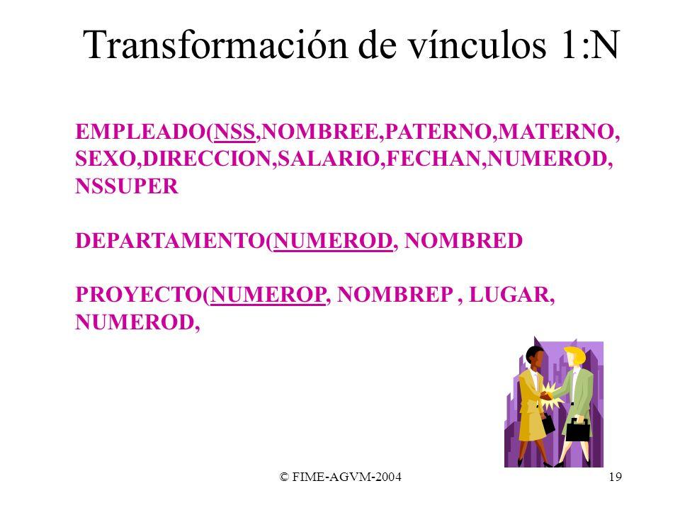 © FIME-AGVM-200419 Transformación de vínculos 1:N EMPLEADO(NSS,NOMBREE,PATERNO,MATERNO, SEXO,DIRECCION,SALARIO,FECHAN,NUMEROD, NSSUPER DEPARTAMENTO(NU