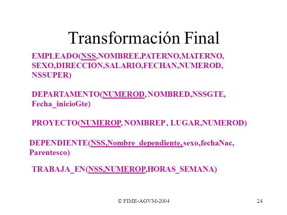 © FIME-AGVM-200424 Transformación Final EMPLEADO(NSS,NOMBREE,PATERNO,MATERNO, SEXO,DIRECCION,SALARIO,FECHAN,NUMEROD, NSSUPER) DEPARTAMENTO(NUMEROD, NO