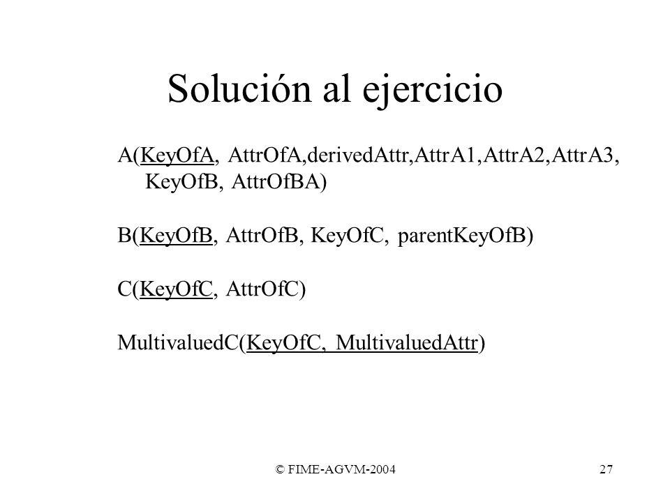 © FIME-AGVM-200427 Solución al ejercicio A(KeyOfA, AttrOfA,derivedAttr,AttrA1,AttrA2,AttrA3, KeyOfB, AttrOfBA) B(KeyOfB, AttrOfB, KeyOfC, parentKeyOfB