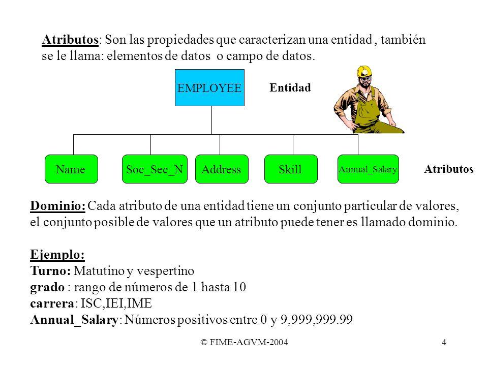 © FIME-AGVM-20044 EMPLOYEE NameSoc_Sec_NAddressSkill Annual_Salary Entidad Atributos Dominio: Cada atributo de una entidad tiene un conjunto particula