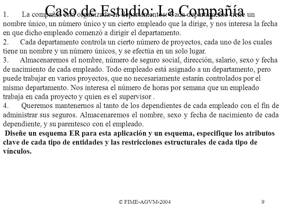 © FIME-AGVM-20049 Caso de Estudio: La Compañía 1. La compañía está organizada en departamentos. Cada departamento tiene un nombre único, un número úni