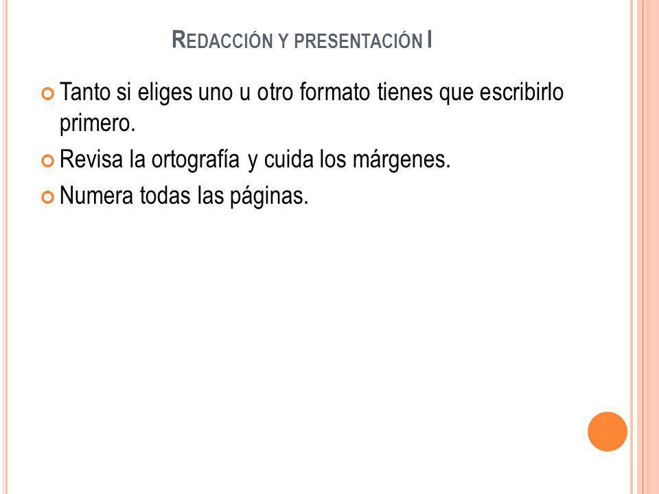 R EDACCIÓN Y PRESENTACIÓN II Portada: Debe contener estos aspectos: - Nombre del Colegio, curso y clase.