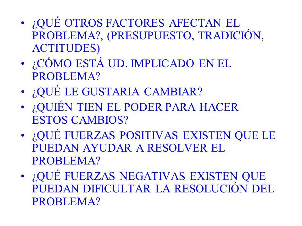 ¿QUÉ OTROS FACTORES AFECTAN EL PROBLEMA?, (PRESUPUESTO, TRADICIÓN, ACTITUDES) ¿CÓMO ESTÁ UD. IMPLICADO EN EL PROBLEMA? ¿QUÉ LE GUSTARIA CAMBIAR? ¿QUIÉ