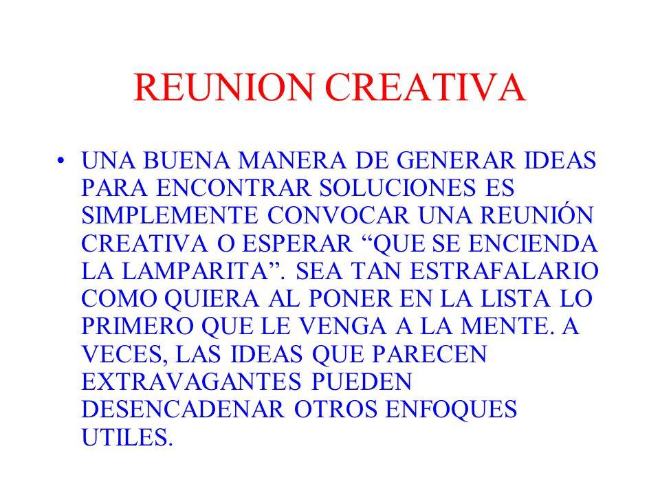 REGLAS PARA LA REUNION CREATIVA ESCRIBA EN UNA LISTA CADA IDEA QUE LE VENGA A LA MENTE.