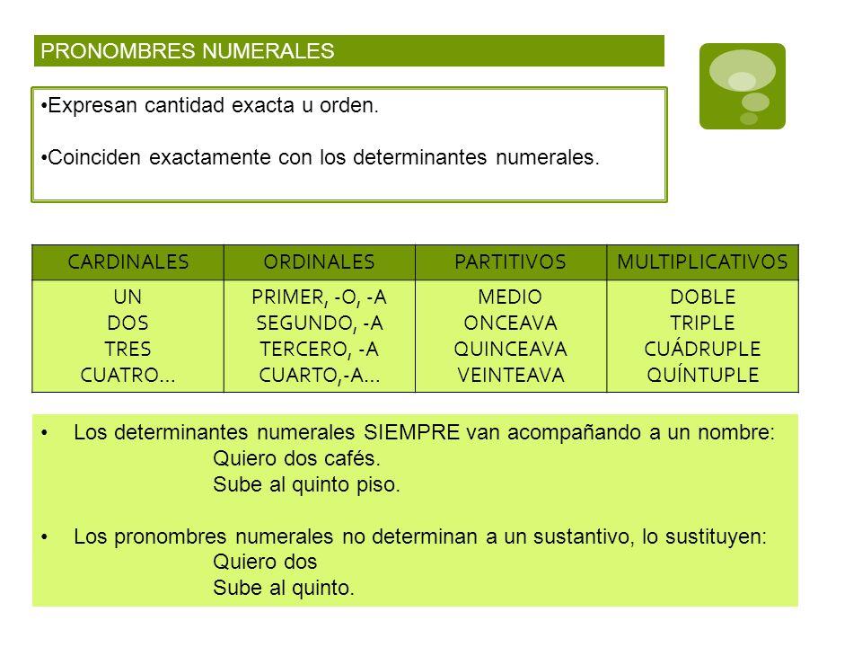 PRONOMBRES NUMERALES Expresan cantidad exacta u orden. Coinciden exactamente con los determinantes numerales. CARDINALESORDINALESPARTITIVOSMULTIPLICAT