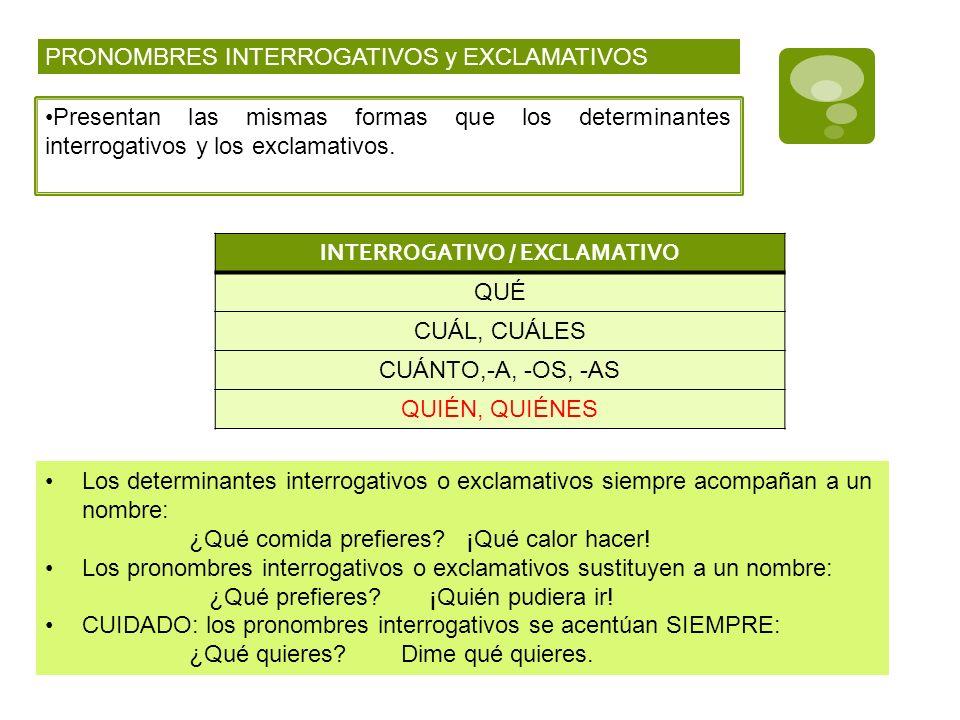 PRONOMBRES INTERROGATIVOS y EXCLAMATIVOS Presentan las mismas formas que los determinantes interrogativos y los exclamativos. Los determinantes interr