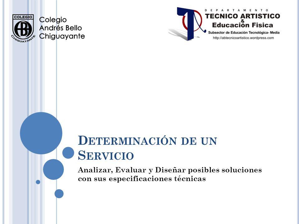 D ETERMINACIÓN DE UN S ERVICIO Analizar, Evaluar y Diseñar posibles soluciones con sus especificaciones técnicas