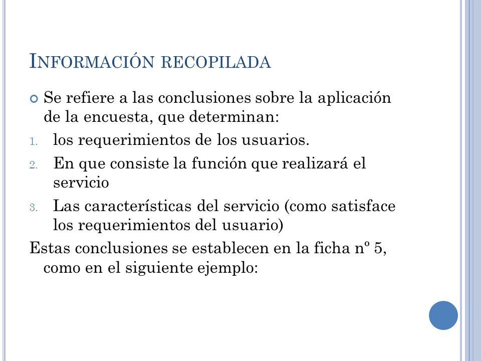 I NFORMACIÓN RECOPILADA Se refiere a las conclusiones sobre la aplicación de la encuesta, que determinan: 1. los requerimientos de los usuarios. 2. En