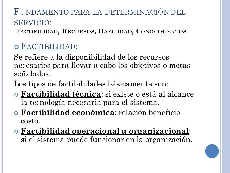 F UNDAMENTO PARA LA DETERMINACIÓN DEL SERVICIO : F ACTIBILIDAD, R ECURSOS, H ABILIDAD, C ONOCIMIENTOS F ACTIBILIDAD : Se refiere a la disponibilidad d