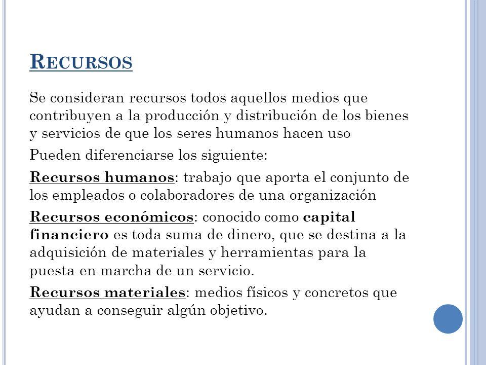 R ECURSOS Se consideran recursos todos aquellos medios que contribuyen a la producción y distribución de los bienes y servicios de que los seres human