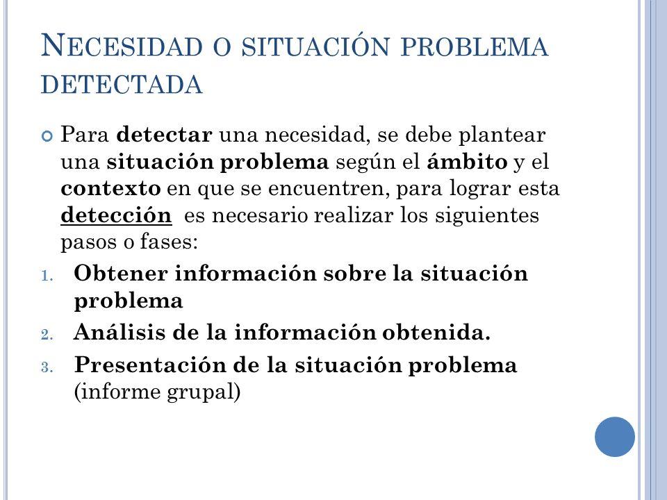 N ECESIDAD O SITUACIÓN PROBLEMA DETECTADA Para detectar una necesidad, se debe plantear una situación problema según el ámbito y el contexto en que se