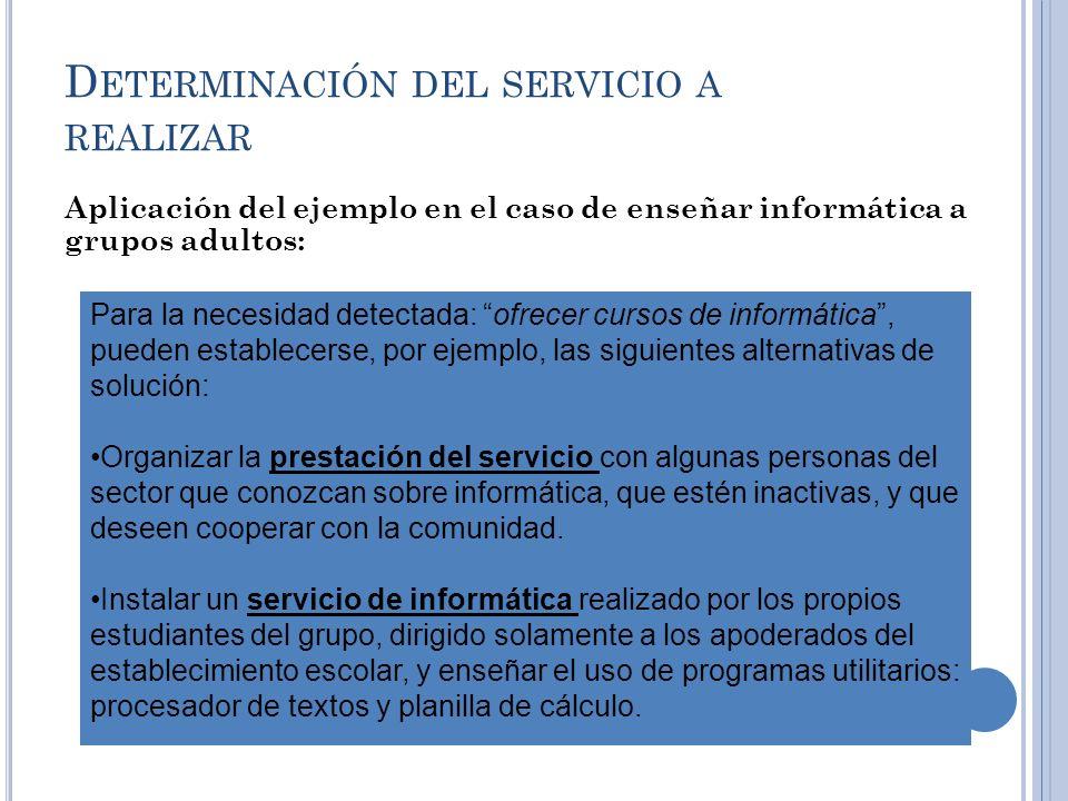 D ETERMINACIÓN DEL SERVICIO A REALIZAR Aplicación del ejemplo en el caso de enseñar informática a grupos adultos: Para la necesidad detectada: ofrecer