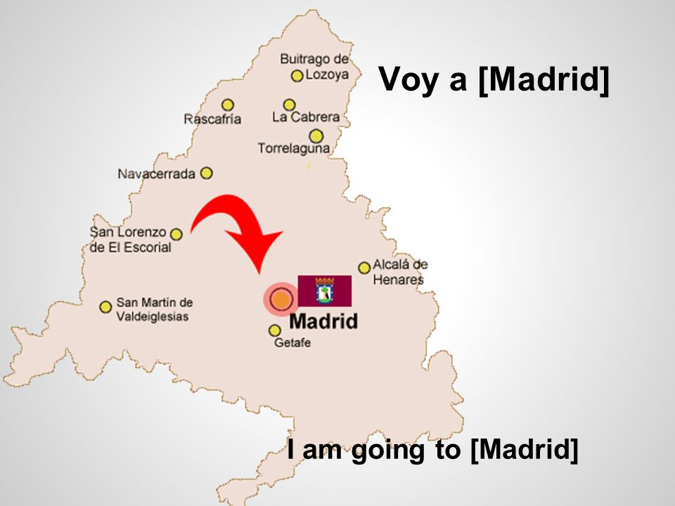 Voy a [Madrid] I am going to [Madrid]