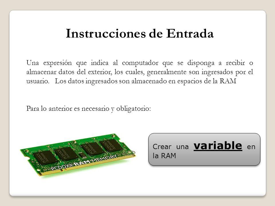 Instrucciones de Entrada Una expresión que indica al computador que se disponga a recibir o almacenar datos del exterior, los cuales, generalmente son