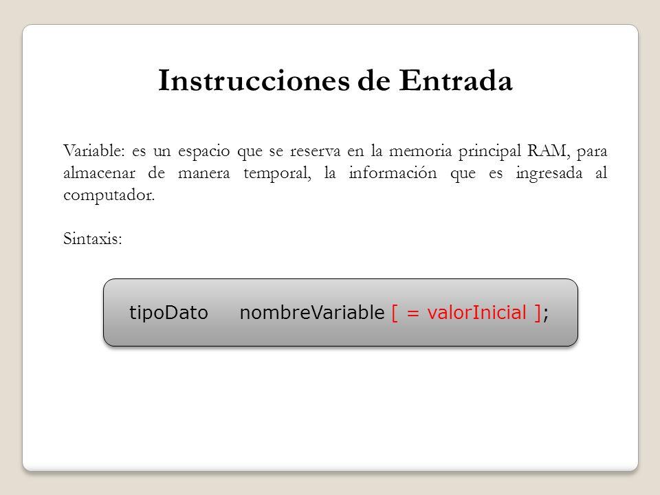 Instrucciones de Entrada Variable: es un espacio que se reserva en la memoria principal RAM, para almacenar de manera temporal, la información que es