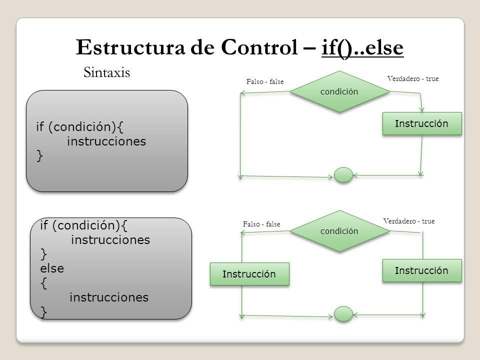 Estructura de Control – if()..else if (condición){ instrucciones } if (condición){ instrucciones } Sintaxis if (condición){ instrucciones } else { ins