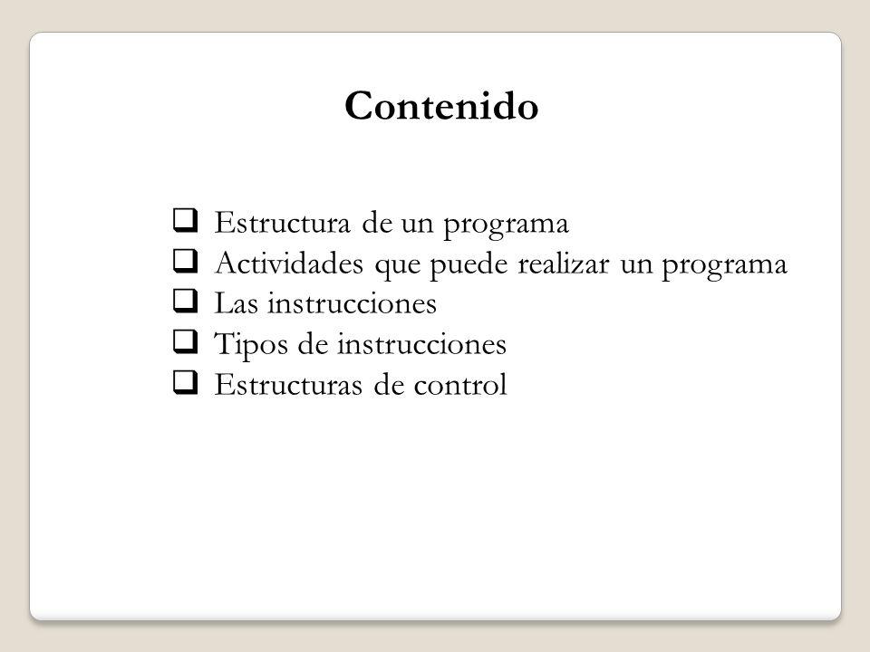 PROGRAMA INSTRUCCIONES PROBLEMA COMPUTADOR I.