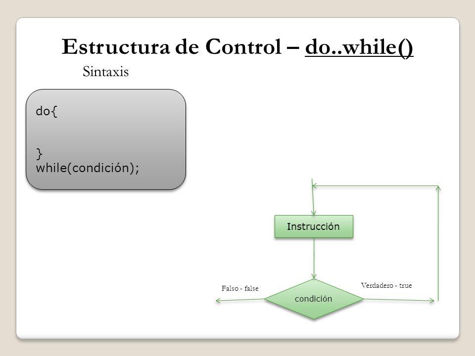 Estructura de Control – do..while() do{ } while(condición); do{ } while(condición); Sintaxis condición Instrucción Verdadero - true Falso - false