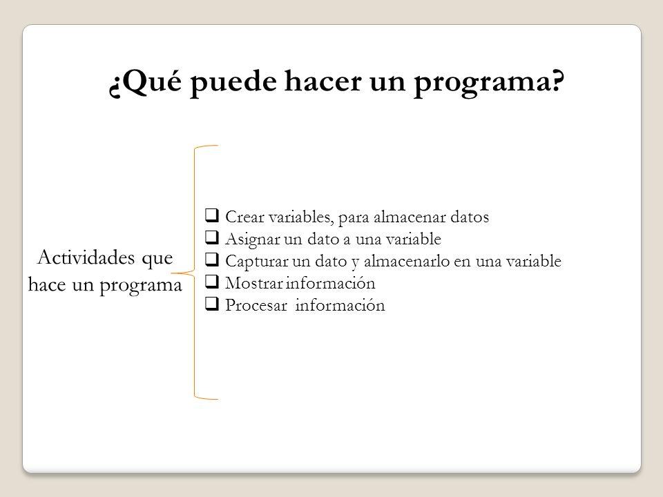 ¿Qué puede hacer un programa? Actividades que hace un programa Crear variables, para almacenar datos Asignar un dato a una variable Capturar un dato y