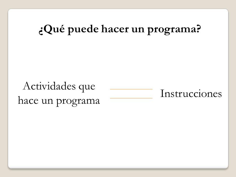 ¿Qué puede hacer un programa? Instrucciones Entrada Proceso Salida