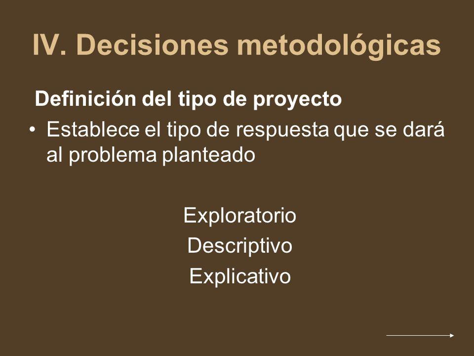 IV. Decisiones metodológicas Definición del tipo de proyecto Establece el tipo de respuesta que se dará al problema planteado Exploratorio Descriptivo